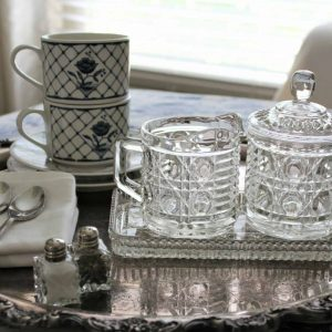 """Creamer and Sugar Bowl with Lid and Tray, """"Windsor"""" by Federal Glass, 4 Pc Set"""
