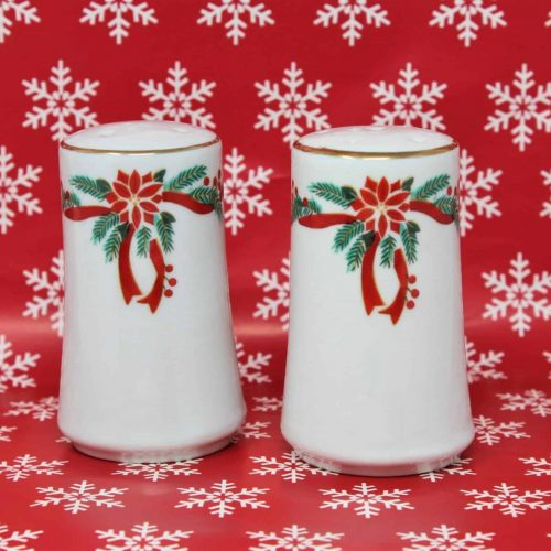 "Salt and Pepper Shakers, Christmas Holiday ""Poinsettia and Ribbons"""