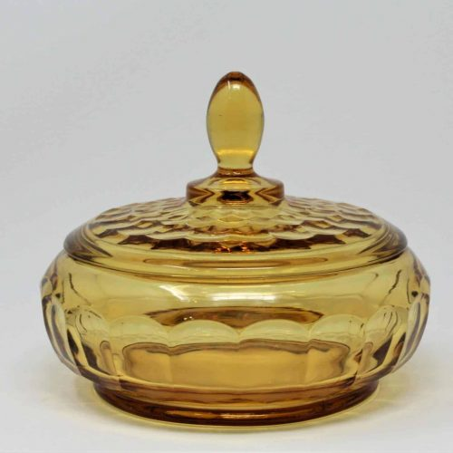Candy Dish / Trinket Box, Vintage Amber Glass, Vanity Powder Bowl, Rare