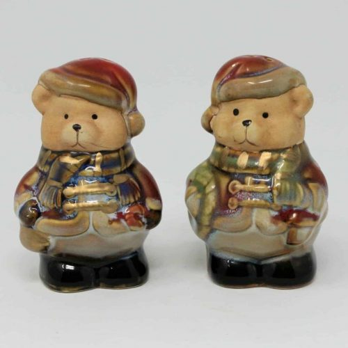 Salt and Pepper Shakers, Christmas Teddy Bear, Bears with Christmas Hats