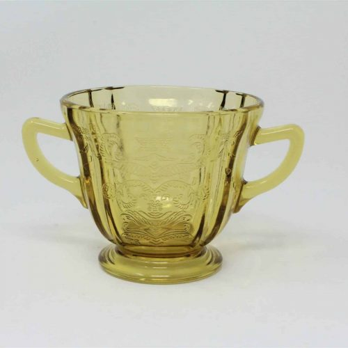 """Sugar Bowl Indiana Glass Open, """"Recollection"""" Amber (Madrid)"""