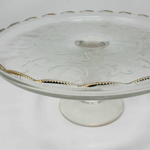 "Cake Stand Glass, Mid Century ""Harp"" Pattern, Gold, Jeannette Glass"