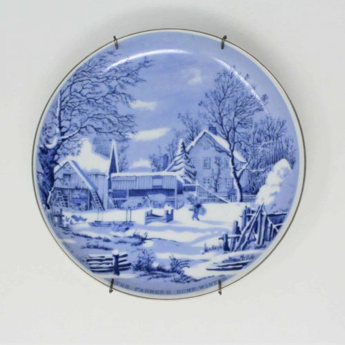 Decorative Plate, Blue and White, The Farmer's Home In Winter, Currier & Ives
