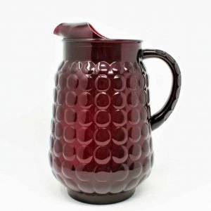 """Pitcher, Red Glass, """"Bubble Ruby"""" by Anchor Hocking"""