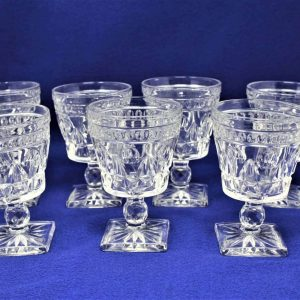 """Glasses Water / Goblet, """"Park Lane"""" by Colony Glass, Set of 7"""