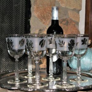 Wine Glasses, Libbey Silver Foliage / Leaves, Mid-Century Modern - Set of 6