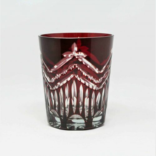 Glass, Rocks/Whiskey, Ruby Red Cut To Clear Double Old Fashioned, Tumbler