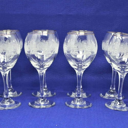 "Wine Glasses / Goblet, ""Pines"" Pattern, Lynn's China Stemware, Set of 8"