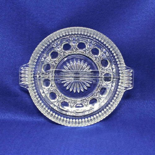 """Dish, Divided 2 Section, Relish, Federal Glass, """"Windsor"""" Pattern"""