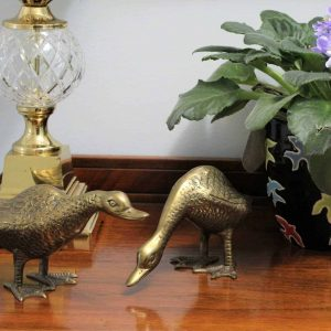 Figurines Vintage Brass Geese, Set of Two