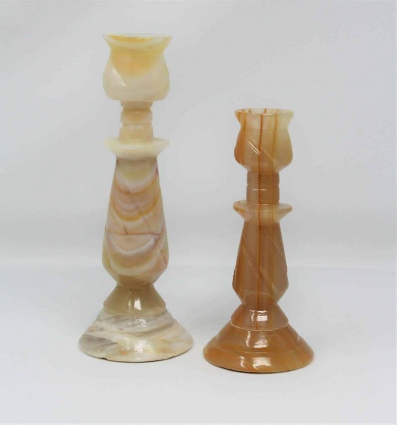Candle Holders, Pair of Carved Marble Taper Candlestick Holders