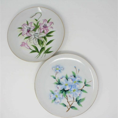 Decorative Plates, Japanese Hand Painted Flowers, Set of Two