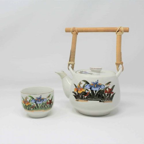 Tea Set for One, Iris Floral Design, Bamboo Handle, OMC Japan