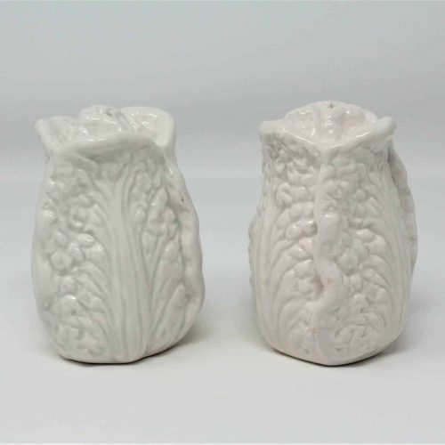 Salt and Pepper Shakers, Cabbage Shaped, White Fitz and Floyd