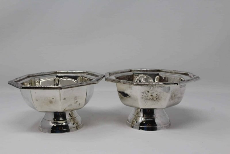 Bowl/Dish Pedestal, Octagon Shaped, Silver Plate, Set of 2 -Reduced