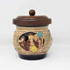 """Tobacco Humidor, Storage Canister, """"Heroes of '76"""" Embossed, Inarco Ceramic"""