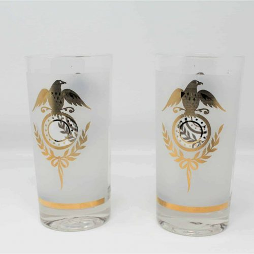 Glasses, Highball Gold Eagle Federal Regency Frosted Drinking Glass, Set of 2