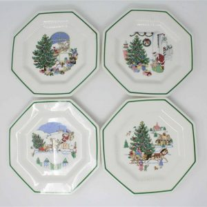 """Plates, Salad Accent, """"Christmastime"""" by NIKKO - Set of 4"""