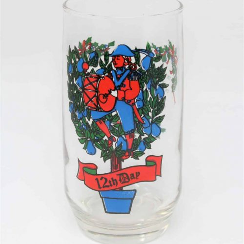 Glass, Tumbler 12 Days of Christmas, 12th Day, Anchor Hocking