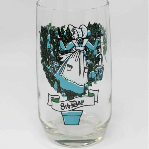 Glass, Tumbler 12 Days of Christmas, 8th Day, Anchor Hocking