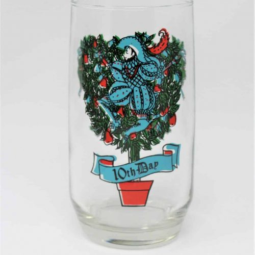 Glass, Tumbler 12 Days of Christmas, 10th Day, Anchor Hocking
