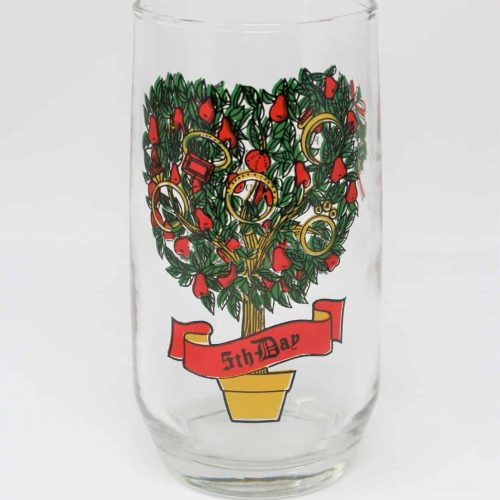 Glass, Tumbler 12 Days of Christmas, 5th Day, Anchor Hocking