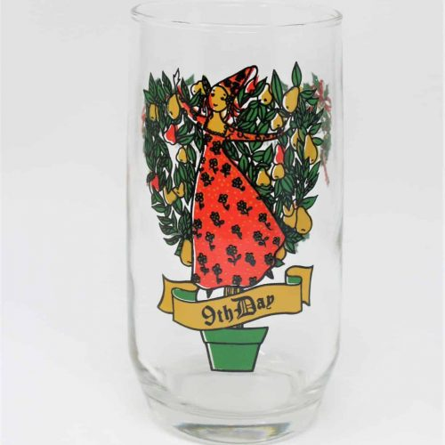 Glass, Tumbler 12 Days of Christmas, 9th Day, Anchor Hocking