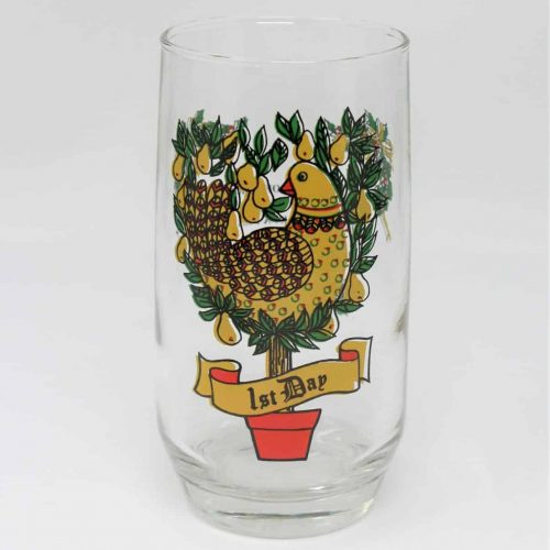 Glass, Tumbler 12 Days of Christmas, 1st Day, Anchor Hocking