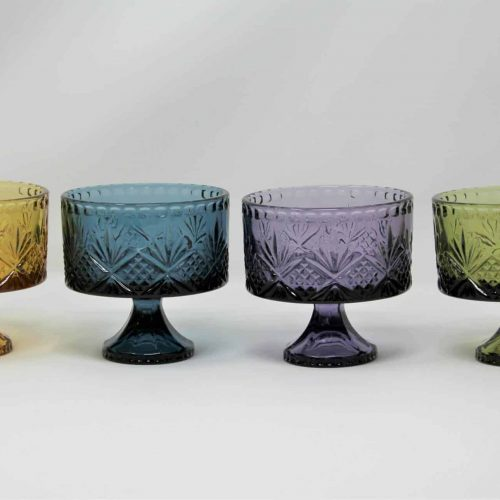 "Mini Trifle Glass Bowls, ""Dublin Colors"" Pattern by Godinger, Set of 4"