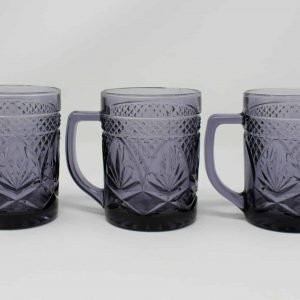 """Mug / Cup """"Antique Amethyst"""" Pattern by Cristal D'Arques-Durand, France, Set of 3"""