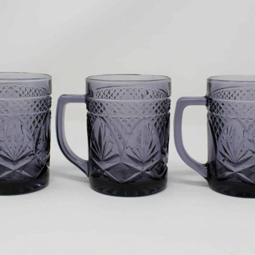 "Mug / Cup ""Antique Amethyst"" Pattern by Cristal D'Arques-Durand, France, Set of 3"