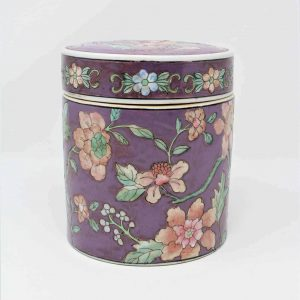 Tea Caddy/Storage / Canister, Macau Ceramic, Floral/Orchid Chinoiserie, SOLD