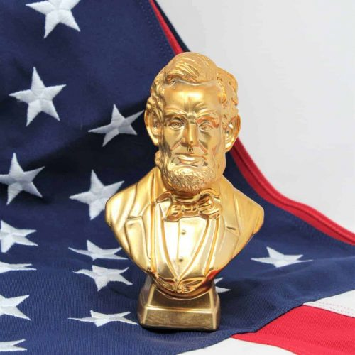 "Decanter, Avon ""President Lincoln"" Gold Bust, Deep Woods After Shave"