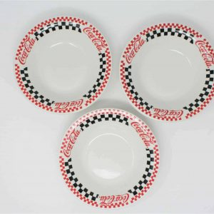 Bowls Soup, Coca Cola by Gibson Designs, Black/Red Racing Checkered, Set of 3