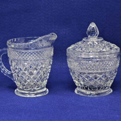 "Creamer and Sugar Bowl with Lid, ""Wexford"" by Anchor Hocking, Glass"