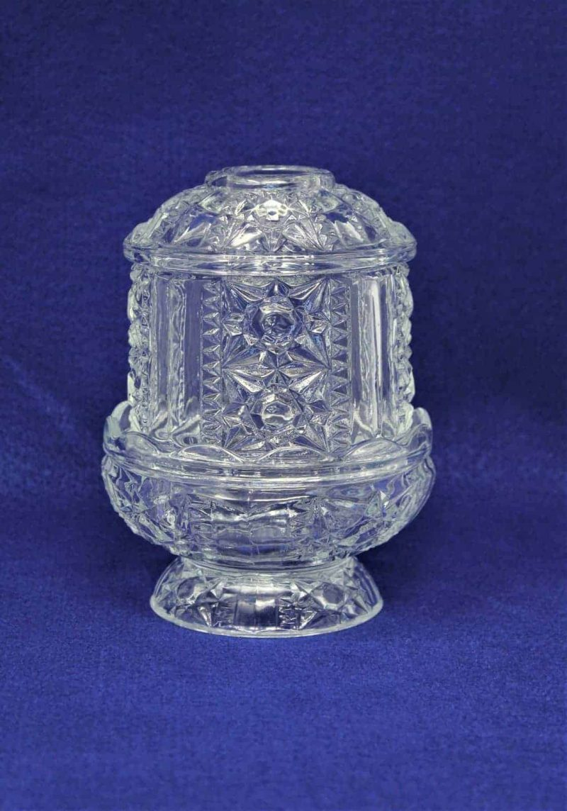 """Candle/Fairy Lamp, """"No 1188-BD"""" by Indiana Glass / Homco (Stars and Bars)"""