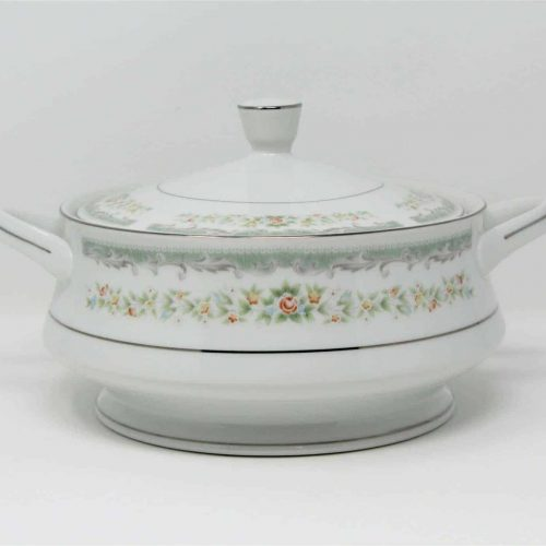 "Serving Bowl, Covered Vegetable, Roseville Fine China ""4135"", Footed, Japan"