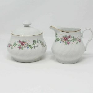 """Creamer and Sugar Bowl with Lid, """"Clarabelle"""", Lynn's China"""