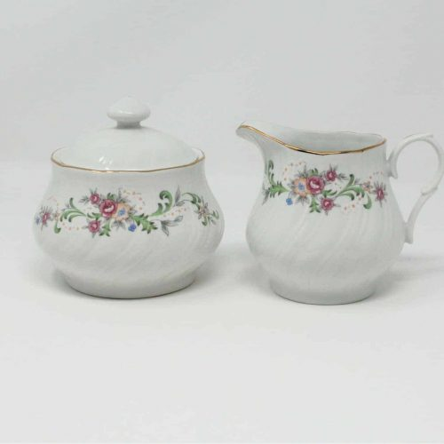 "Creamer and Sugar Bowl with Lid, ""Clarabelle"", Lynn's China"