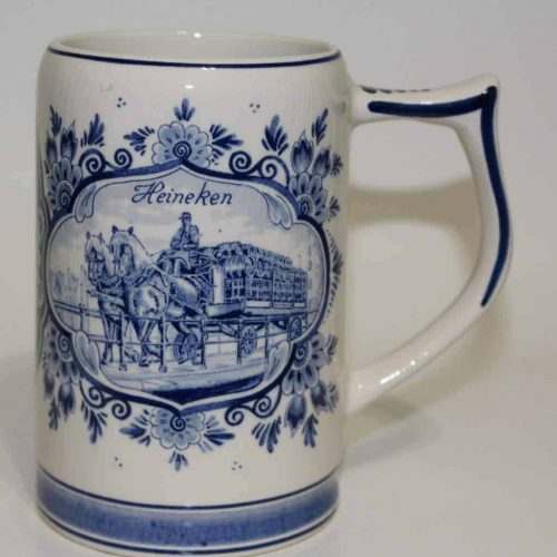 Mug, Beer Stein, Heineken, Delft Blue and White, Ceramic