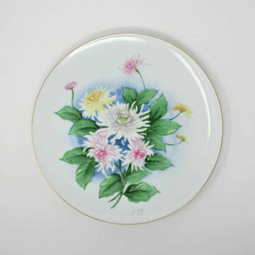 Decorative Plate, Japanese Hand Painted Flowers / Spider Mums
