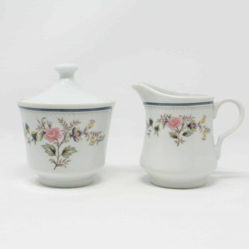 "Creamer and Sugar Bowl with Lid, ""Hampton"" Crescent Fine China by Ranmaru"