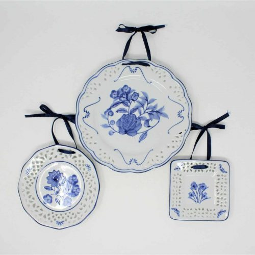 Decorative Plates, Blue and White, Floral Plates, Wall Hanging by WMG, Set of 3