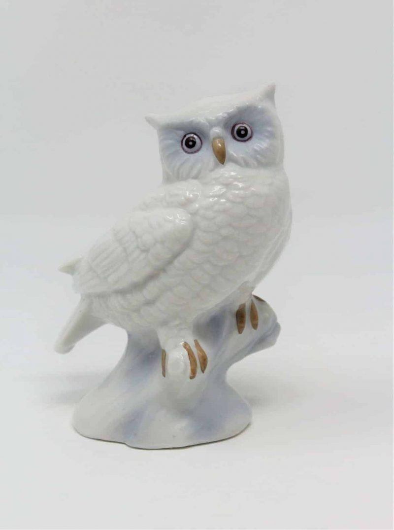 Figurines, Owls Pair, Horned and Barn Owl, White and Gray Porcelain