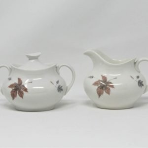 """Creamer and Sugar Bowl with Lid, """"Tumbling Leaves"""" by Royal Doulton"""