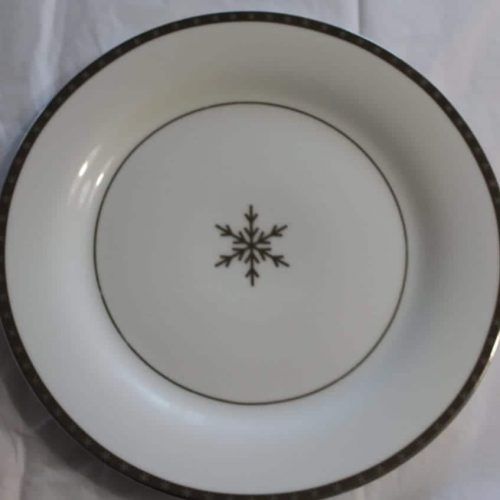 "Plate Dinner, ""First Frost / Arctic Solstice Snowflake"", Onyx and Ice Collection, SOLD"