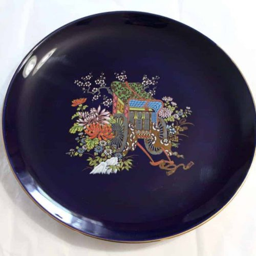 Decorative Plate, Oriental Rickshaw, Cobalt Blue, Japan