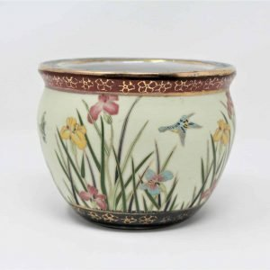 """Planter, Oriental Fish Bowl, New England Pottery, Ming Dynasty Collection, 4.5"""" Irises/Gold, SOLD"""