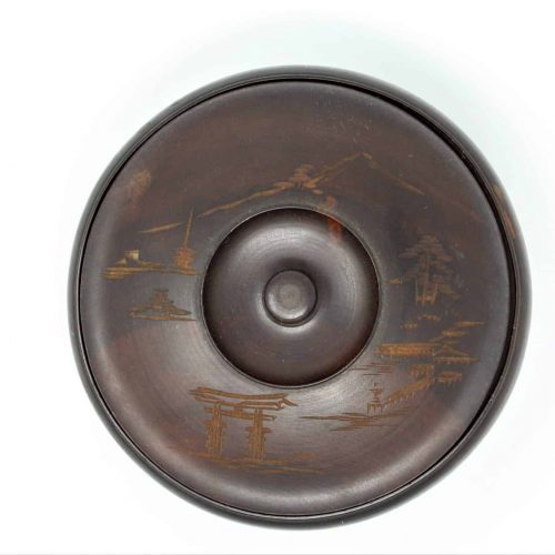 Trinket Box, Japanese Carved Wood, Round Bowl