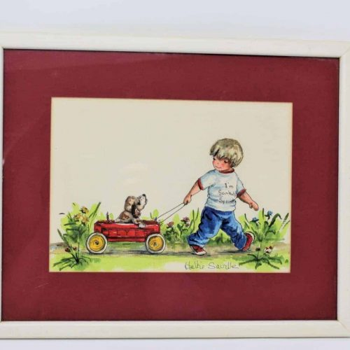 """Painting Original Watercolor, Hattie Saville, """"Red Wagon for Somebody Special"""" Signed"""